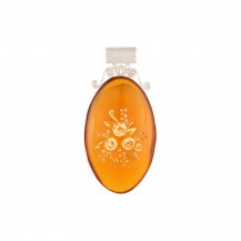 Floral Amber - Plastic Amber Sterling Silver Pendant