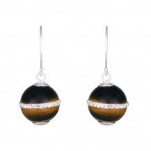 Sand Dunes - Crystal and Tiger's Eye Stone Silver Drop Earrings