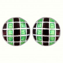 Golu Sterling Silver Meenakari Enamel  Stud Earrings