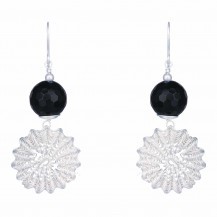 Snowflakes - Handcrafted Black Onyx Dangle Earrings