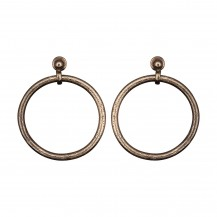 Dotted Circle - Rhodium Round Stud Earrings