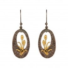 Tantalizing Tulip - Oxidized Silver Golden Drop Earrings