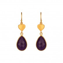 Scarlet Heart - Amethyst Vermeil Drop Earrings