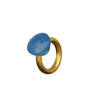 Exotic - Sterling Silver Blue Chacedony Vermeil Ring
