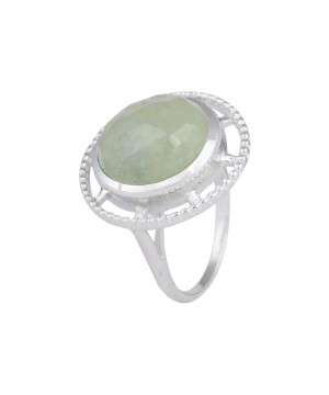 Green Sphere Sterling Silver Ring