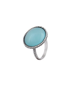Queens Crown Chalcedony Sterling Silver Ring