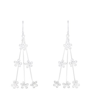 Hale Shower - Floral Handcrafted Silver Drop Earrings