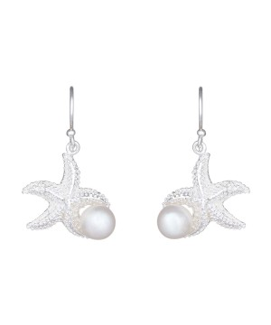Guarding Starfish Drops - Sterling Silver Earring