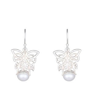 Clasping Butterfly Drops - Sterling Silver