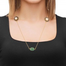 Zevar- Emerald, Pearl Studded  Sterling Sliver Gold Plated Necklace