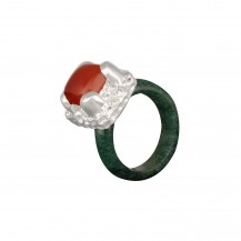 Majestic - Jade Mounted Agate Band Sterling Silver Ring