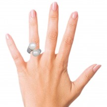Pearly Twins -Sterling Silver Ring