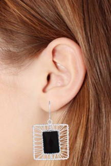 Wired Frames - Sterling Silver Black Onyx Earring