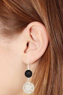 Silver Star - Sterling Silver Black Onyx Earrings