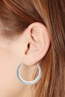 Silver Balli - Etched Round Hoop Earrings