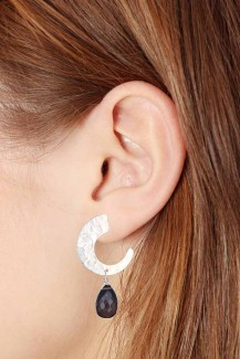 Desert Passion - Beaten Silver and Stone Stud Earring