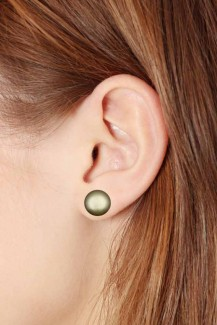 Full Moon - Green Pearls Sterling Silver Stud Earrings