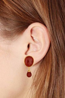 Vermellion Drops - Red Onyx Vermeil Stud Earring